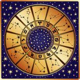 Horoscope circle.Zodiac sign and constellations royalty free illustration