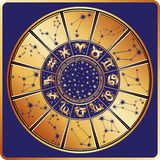 Horoscope circle.Zodiac sign,constellations,stars Stock Photography