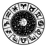 Horoscope circle.Zodiac sign,moon,sun.White,black Stock Photo
