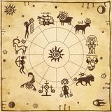 Horoscope circle. Zodiac signs. Simulation of rock paintings. Background old paper. Stock Image