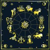 Horoscope circle. Zodiac signs. Stock Photo