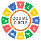 Horoscope circle with Zodiac signs. On white Stock Images