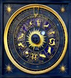 Horoscope clock. A year clock with horoscope signs and ornaments royalty free stock photo