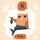 Horoscope Cute Owl royalty free stock photography