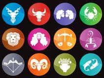 Horoscope dans la scénographie de vecteur de signe d'icône de cercle Photographie stock