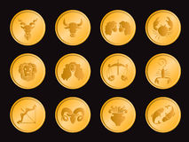 Horoscope dans la scénographie de vecteur de signe d'icône de pièce de monnaie de cercle d'or Photos stock