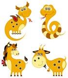 Horoscope divertente del cinese di applique illustrazione di stock