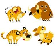 Horoscope engraçado do chinês do applique ilustração royalty free