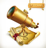 Horoscope et télescope Icône de vecteur d'astrologie illustration libre de droits