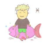 Horoscope fish. Vector graphic illustration design art Royalty Free Stock Photo
