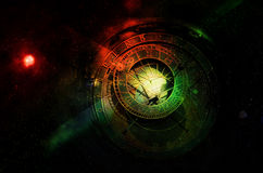 Horoscope forecast. Zodiac clock in the space royalty free stock image