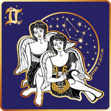 Horoscope.Gemini zodiac sign with boys twins Stock Images