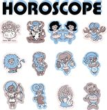 Horoscope girl kids set Royalty Free Stock Images