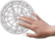 Horoscope and hand. White horoscope wheel with female hand touching it royalty free illustration
