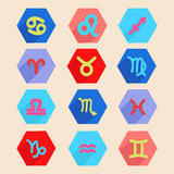 Horoscope icon set in flat style, zodiac signs. Colorful  horoscope icon set in flat style, zodiac signs made in hexagon shape Stock Images