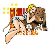 Horoscope leo with background. Horoscope leo cute funny girl Royalty Free Stock Photography