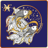 Horoscope.Pisces  zodiac sign. Pisces zodiac sign. Horoscope.Pisces and circle with the constellation Graphic Vector Illustration in retro style Royalty Free Stock Images
