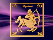 Horoscope, Sagittarius. Zodiac horoscope brass logo sagittarius, 3D illustration, background, wallpaper, clipping path copy space Stock Photos