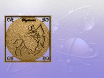 Horoscope, Sagittarius. Zodiac horoscope brass logo sagittarius, 3D illustration, background, wallpaper, clipping path copy space Royalty Free Stock Photography
