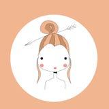 Horoscope Sagittarius sign, girl head Stock Image