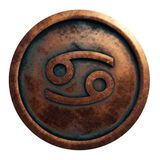 Horoscope sign Cancer in copper circle royalty free stock image