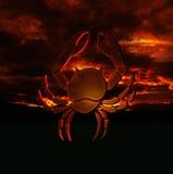 Horoscope sign cancer. Horoscope zodiac cancer on red sunset background abstract 3d illustration Stock Image