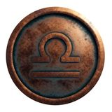 Horoscope sign Libra in copper circle. 3D rendering stock images