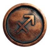 Horoscope sign Sagittarius in copper circle. 3D rendering royalty free stock photos