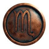 Horoscope sign Scorpio in copper circle. 3D rendering stock photography