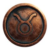 Horoscope sign Taurus in copper circle. 3D rendering stock photos