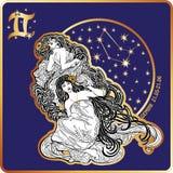 horoscope Signe de zodiaque de Gémeaux avec les jumelles de la femme illustration stock