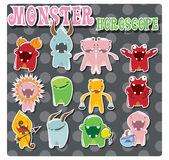 Horoscope signs with cute monsters Royalty Free Stock Photos