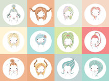 Horoscope signs with girls Stock Photo
