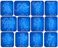 Horoscope signs kids set Stock Photography