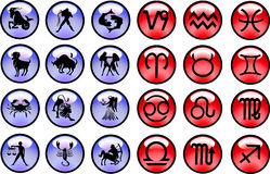 Horoscope signs and symbols Stock Images