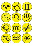 Horoscope symbols. Set of yellow cartoon horoscope symbols on a white background. NOTE TO REVIEWER: Hand drawn??? Looks more like computer graphics Vector Illustration