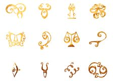 Horoscope texture of gold. The image can be used for printing horoscopes, calendars, printing in magazines, stickers Stock Photo