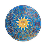 Horoscope wheel. Blue zodiac wheel with clipping path included royalty free stock images