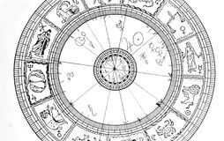 Horoscope wheel chart Stock Photo