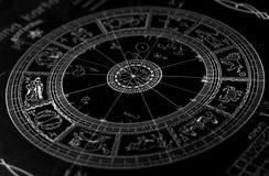 Horoscope wheel chart. On black background Stock Images