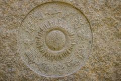 Horoscope wheel chart made from marble stone. Ancient stone zodiac wheel with signs around the sun symbol. stock photos