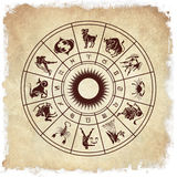 Horoscope wheel of zodiac signs Stock Photos