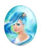 Horoscope Zodiac - Fantasy  Aquarius portret beautifulbn girl Stock Photos