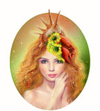 Horoscope Zodiac - Fantasy Cancer  portret beautifulbn girl Royalty Free Stock Image