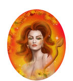 Horoscope Zodiac - Fantasy Leo portret beautifulbn girl Stock Photo