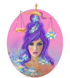 Horoscope Zodiac - Fantasy Libra portret beautifulbn girl Royalty Free Stock Photo