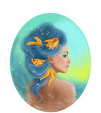 Horoscope Zodiac - Fantasy Pisces  portret beautifulbn girl Stock Images