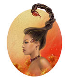 Horoscope Zodiac - Fantasy  Scorpio portret beautiful girl Royalty Free Stock Photography