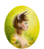 Horoscope Zodiac - Fantasy  Taurus portret beautiful girl Royalty Free Stock Photo