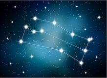 Horoscope zodiac sign of the gemini on the astrological space background Stock Photos